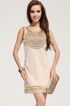 Beige Womens Sexy Sleeveless Sequins Vintage Tank Dress