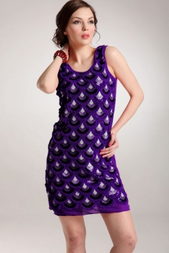 Purple Womens Sequins Retro Mermaid Sleeveless Fancy Tank Dress