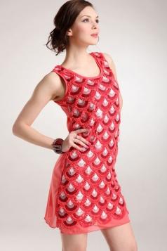 Pink Womens Sequins Retro Mermaid Sleeveless Fancy Tank Dress
