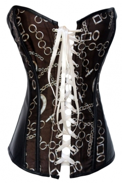 Black Chic Womens Chain Printed Lace Up Lingerie Over Bust Corset