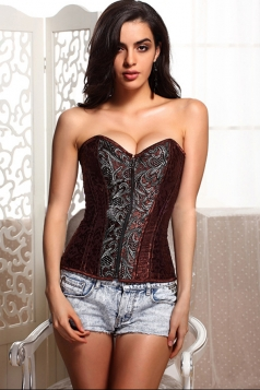 Ruby Romantic Womens Zip Embroidery Lace Up Over Bust Corset