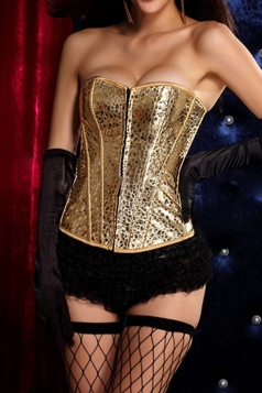 Gold Elegant Ladies Leather Lingerie Lace Up Over Bust Corset