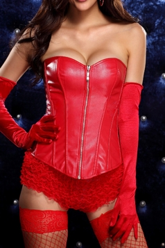 Red Cool Ladies Strapless Lingerie Leather Corset