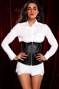 Black Comfortable Ladies Lingerie Chain Zip Under Bust Corset