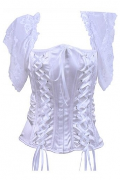 White Elegant Ladies Short Sleeve Lingerie Plain Bridal Corset