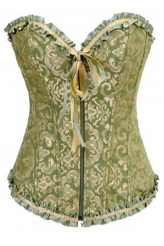 Green Sexy Ladies Lingerie Lace Up Jacquard Brocade Over Bust Corset