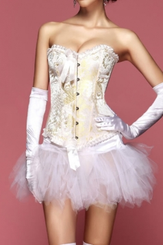 Beige Elegant Ladies Lingerie Gothic Lace Up Jacquard Brocade Corset
