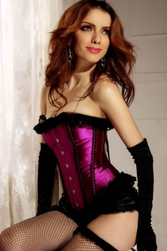 Purple Fancy Womens Lingerie Lace Up Strapless Over Bust Corset