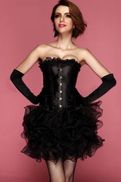 Black Comfortable Ladies Lace Up Lingerie Plain Corset Dress