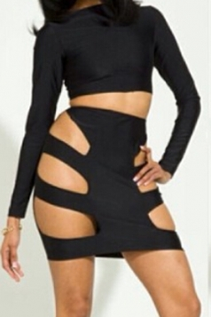 Black Modern Womens Long Sleeve Cut Out Plain Suit & Set