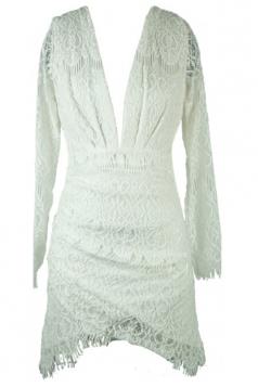 White Pretty Ladies Deep V Lace Irregular Hem Long Sleeve Dress