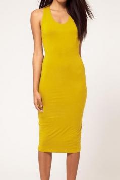 Yellow Elegant Womens Backless Sleeveless Halter Midi Dress