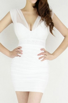 White Sexy Ladies Plain Sequin Strap V Neck Bodycon Dress