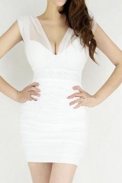 White Sexy Ladies Plain Sequin Strap V Neck Bodycon Dress