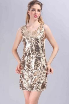 Beige Cool Ladies Sequin Strap Crew Neck Tank Dress