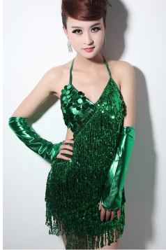 Green Sexy Ladies Sequin Tassels Halter Clubwear Dress