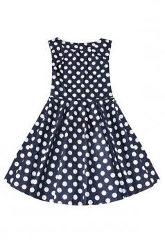 Navy Blue Sleeveless Ladies Sexy Polka Dot Ruffle Skater Dress