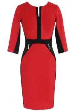 Red Zipper Womens Sexy Color Block Half Sleeves Unique Midi Dress