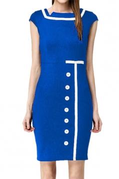 Blue Zipper Fashion Womens Sleeveless Buttons Midi Dress