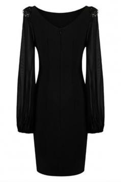 Black Womens Puff Long Sleeve Chiffon Studded Vintage Dress