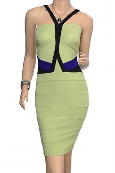 Green Zipper Sexy Womens V Neck Sleeveless Color Block Bandage Dress