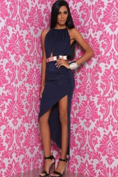 Navy Blue Ladies Backless Halter Elegant Sleeveless Evening Dress
