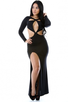 Black Womens Cut Out Long Sleeves Slit Slim Maxi Dress