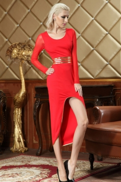 Red Ladies Mesh Patchwork Long Sleeves Cut Out Retro Dress