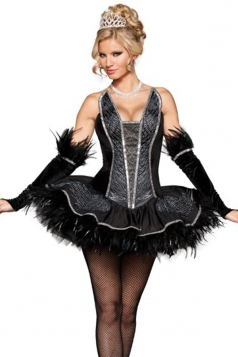 Black Seductive Swan Womens Halloween Costume