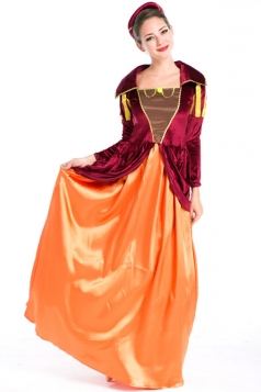 Orange Fancy Halloween Medieval Womens Costume