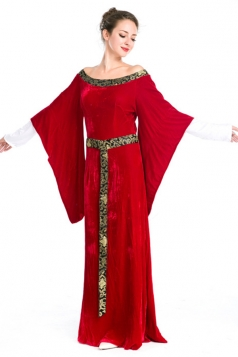 Red Renaissance Halloween Queen Royal Womens Costume