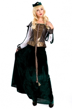 Green Ladies Retro Princess Halloween Royal Costume
