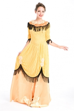 Yellow Royal Medieval Womens Halloween Fancy Costume