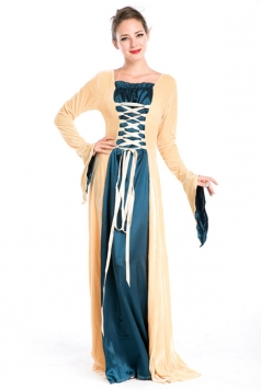 Yellow Fancy Halloween Royal Womens Vintage Costume