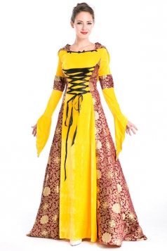Yellow Fancy Queen Renaissance Halloween Costume