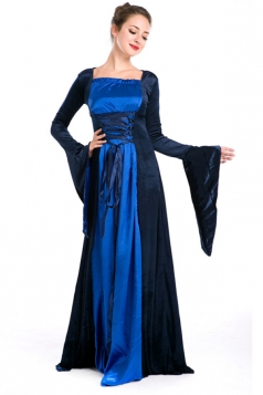 Blue Halloween Womens Renaissance Queen Royal Costume