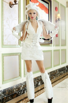 White Fox Ladies Halloween Animal Fancy Costume