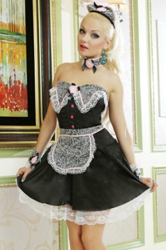 Black Cute Strapless Ladies Halloween Maid Costume