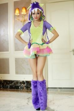 Purple Sexy Womens Horror Scary Halloween Monster Costume