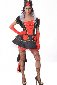 Black Red Queen Of Hearts Halloween Evil Queen Costume