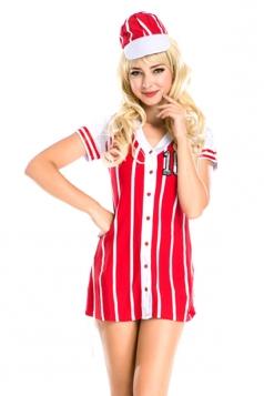 Sexy Ladies Strip V Neck Halloween Sports Costume