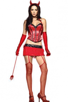 Red Sexy Womens Corset Devil Halloween Costume