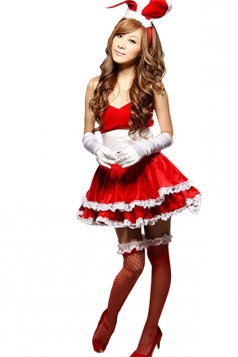 Red Cute Women Velvet Bunny Halloween Costume