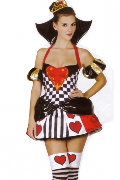 Red Ladies Queen of Hearts Halloween Evil Queen Costume