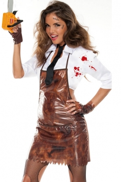 Brown Crazy Saw Horror Halloween Women Zombie Costume