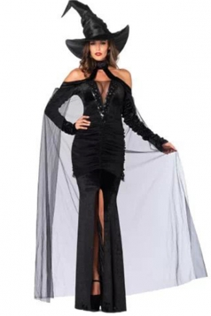 Black Halloween Cool Ladies Wizard Witch Costume