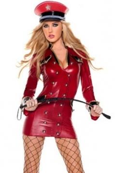 Red Officer Ladies Halloween Cop Costume