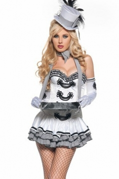 White Cigarette Girl Sexy Halloween Navy Costume