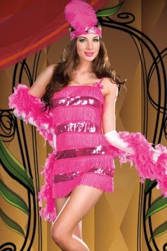 Rose Red Sexy Ladies Flapper Dance Halloween Circus Costume