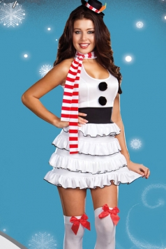 White Sexy Ladies Snowman Halloween Fancy Costume